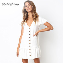 WildPinky Womens Fashion Summer Classic Dresses Casual Short Sleeve V Neck Buttons Ruffles Pleated Mini Beach Vestidos
