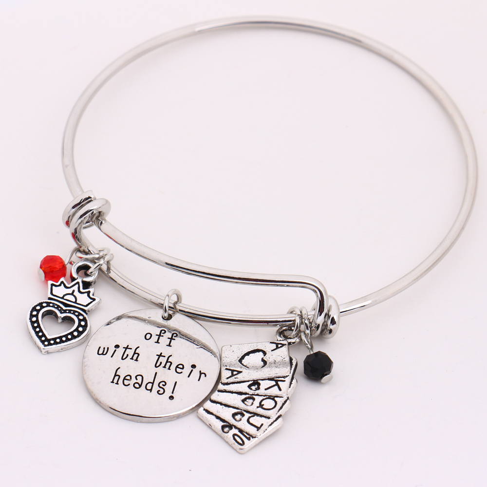 Alice in Wonderland Women Charm Bracelet off with their Heads Letter Pendant Crystals Anime Jewelry Adjustable