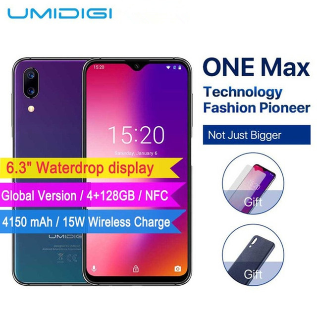 """UMIDIGI One Max Global Vertion 4GB 128GB 6.3"""" Waterdrop Full-Screen 4150mAh Smartphone NFC Wireless Charger Face ID mobile phone"""