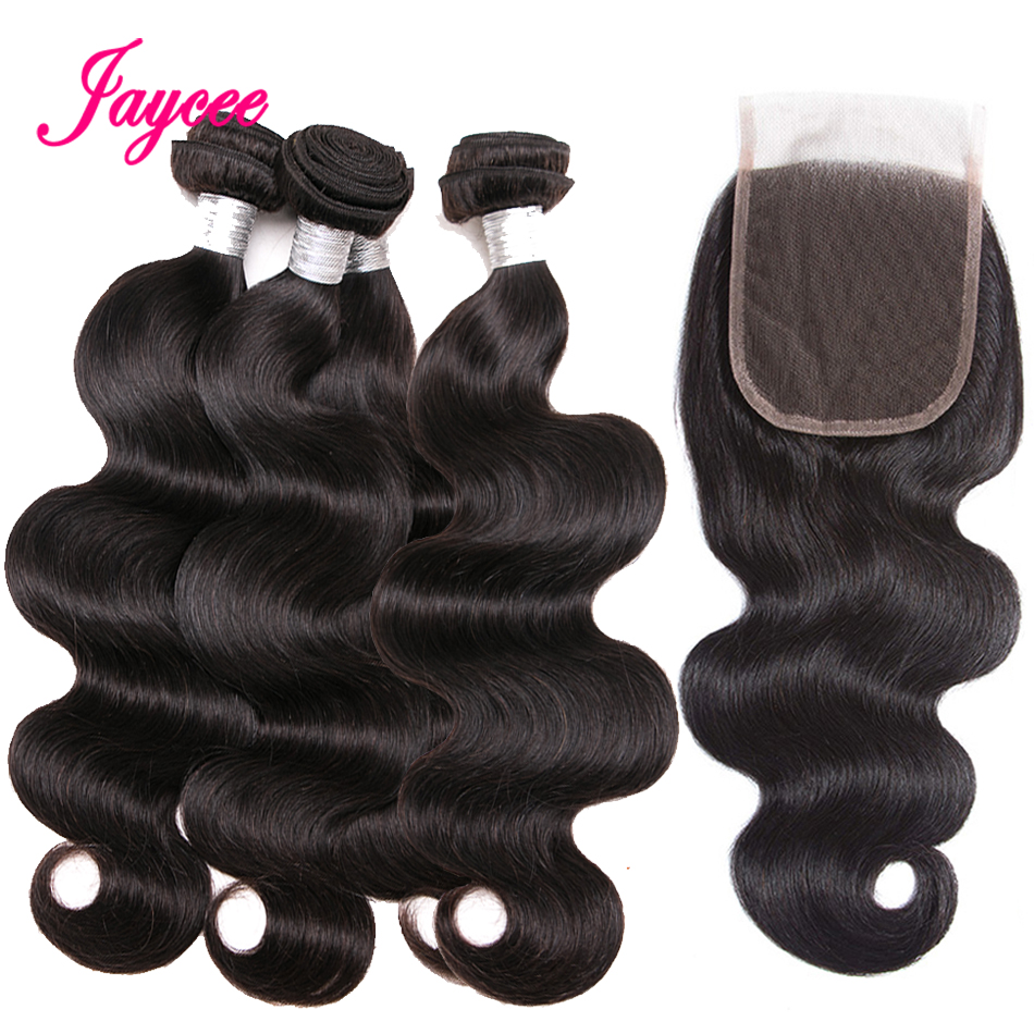 Jaycee Hair Brazilian Body Wave Bundles with Closure 4*4 Free Part Non Remy Human Hair Bundles with Closure meche bresilien