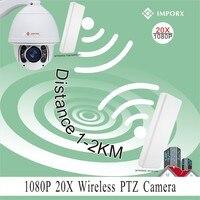 YUNCH 20X zoom 1080 P 2MP câmera de monitoramento automático de 2 km sem fio wifi suporte camera phone view P2P ptz ip sem fio com 2 pontes