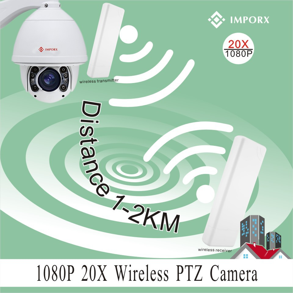 YUNCH 20X zoom 1080P 2MP auto tracking 2km wireless wifi ptz ip camera support phone view P2P with 2 wireless bridges