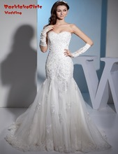 BacklakeGirls 2017 Custom Made Mermaid Wedding Dresses Beaded Applique Sleeveless Tulle Court Train Bride Gowns