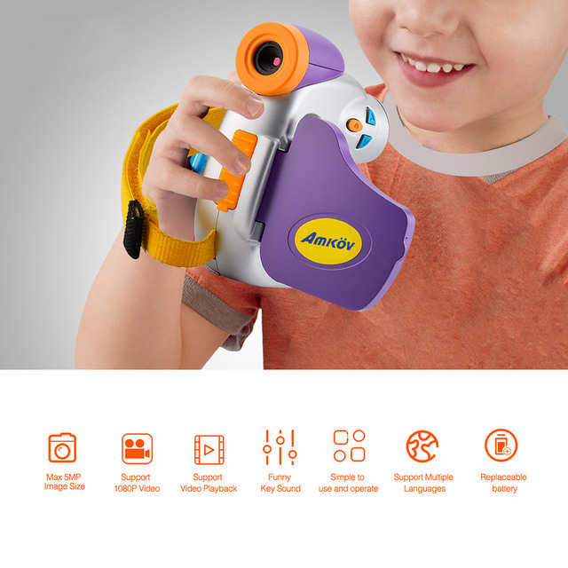 Amkov DV-C7 1080P Children Kid Digital Video Camera 1.44″ Colorful Display Multiple Languages Christmas Gift