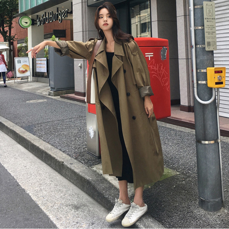 Spring Autumn Trench Coat Women Loose With Belt Clothes 2019 Lady Korean Fashion Long Overcoat Double-breasted Windbreaker Khaki