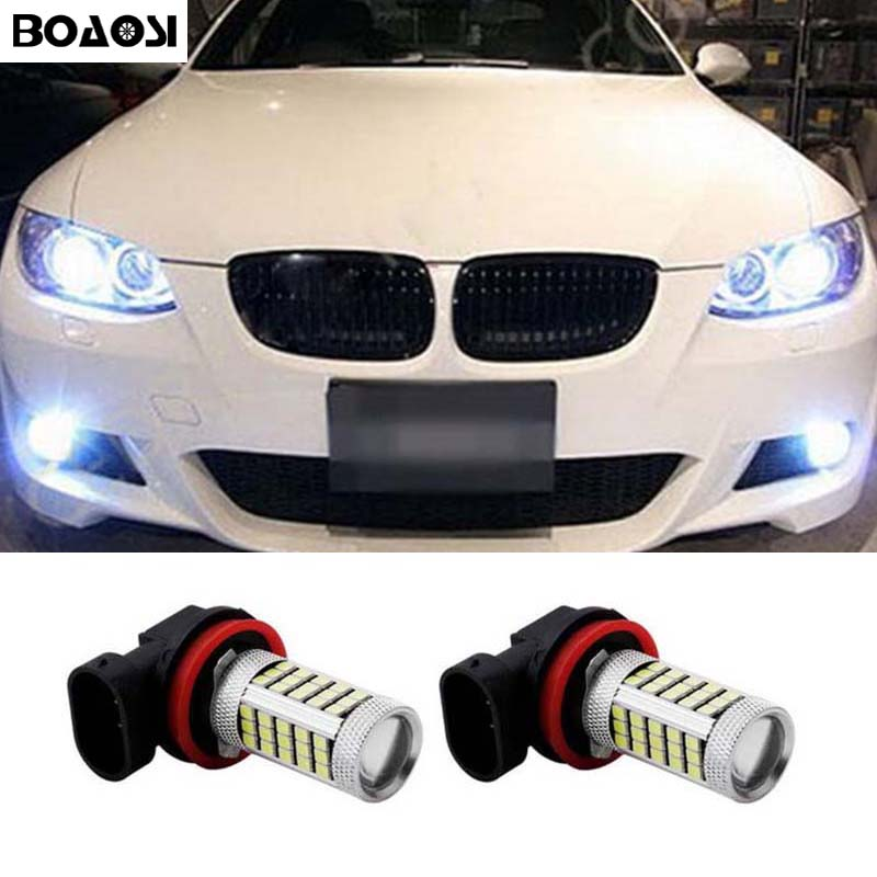 BOAOSI 2x Super White H8 H11 CREE Chip LED Fog Light Driving Bulbs for BMW E39 325 328 M mini SPORT Accessories boaosi 2x h11 led canbus white 5630 33 smd bulbs reflector mirror design for fog lights for bmw e39 325 328 m mini sport