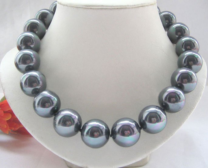18 20mm bright black south sea shell pearl necklace
