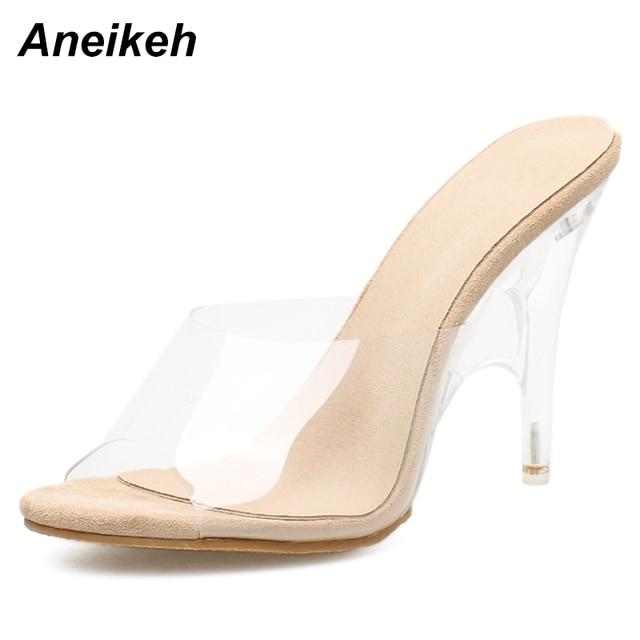 Aneikeh Vrouwen Slippers 2018 Fashion Hoge Hakken Vrouwen Vreemde Hakken Muilezels PVC Transparante Schoenen Clear Open Teen Abrikoos Plus Size