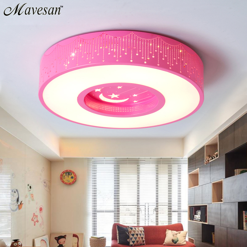 Childrens Room Ceiling Lamp LED With white/pink/blue Color Lampshade For Bedroom Round Lights Fixtures lamparas de techoChildrens Room Ceiling Lamp LED With white/pink/blue Color Lampshade For Bedroom Round Lights Fixtures lamparas de techo