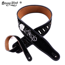 Strong Wind Guitar strap Durable Leather Ballad Black Classic Hand-embroidered accessories High Quality