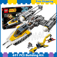 691pcs Space Wars Y Wing Starfighter Universe Fighter 05065 Model Building Blocks Teenager Sets Gifts Game
