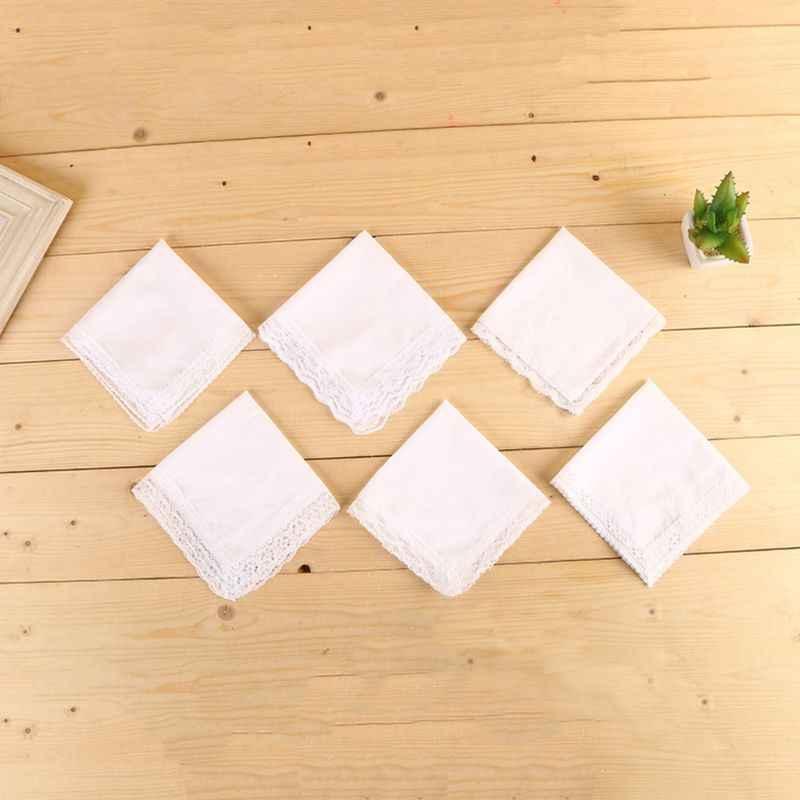 25x25 cm Delle Signore Pianura Bianco Pizzo Floreale Trim Fazzoletti di Cotone Da Sposa Da Sposa Piazza Tovagliolo del Regalo di Stampa FAI DA TE Disegnare tasca Fazzoletti