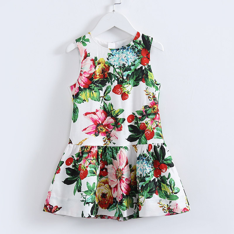 Summer children Teenagers princess dresses kids 4Y-14Y girls flower print holiday sundress student girl pink casual beach dress unini yun 2 7t girl dress baby kids summer flower cherry backless sundress girl cotton sleeveless princess beach casual dresses