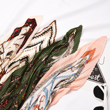 Organ pleated small square spring and autumn seasons art retro new wild decoration fashion scarf size 55*55cm