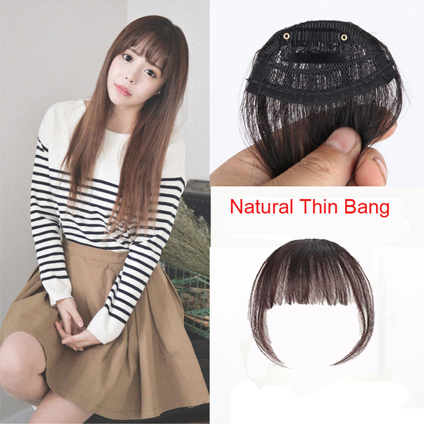 Natural thin bang clip on hair fringe extensions with temple hair natural thin bang clip on hair fringe extensions with temple hair fake hair extension hairpieces 4 color synthetic hairfor women on aliexpress alibaba pmusecretfo Images