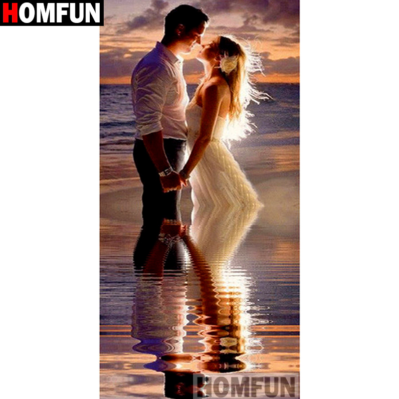 HOMFUN Full Square Round Drill 5D DIY Diamond Painting quot Character couple quot 3D Embroidery Cross Stitch 5D Home Decor Gift A15694 in Diamond Painting Cross Stitch from Home amp Garden