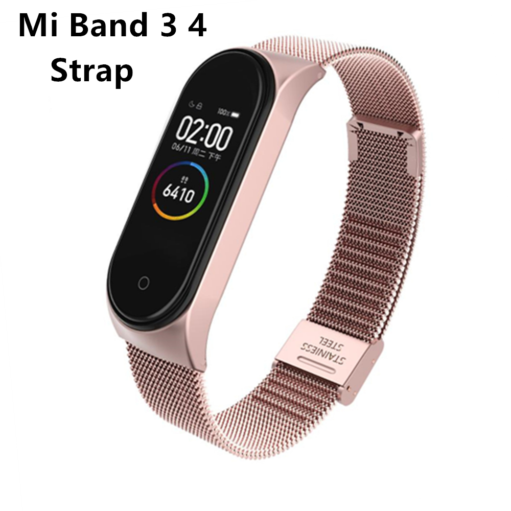 Mi Band 3 4 Wrist Strap Metal Screwless Stainless Steel For Xiaomi Mi Band 4 3 Strap Bracelet Miband 4 3 Wristbands Pulseira(China)