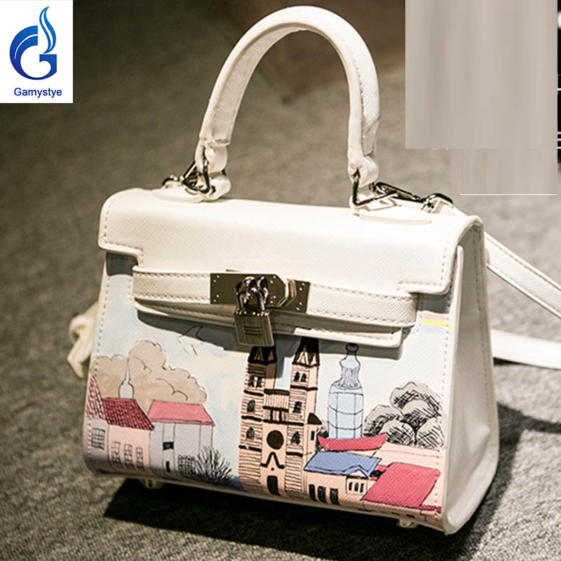 A beautiful village bag Genuine Leather women famous  Messenger Bags Hand Painted Custom painting ladies totes handle clutch YG beautiful darkness