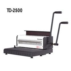 TD-2500 2 uchwyt ręczna spirala podwójny drut bindownica 40 sztuk plac dziurkacz plik książki A4 spinacz do papieru dziurkacz maszyna do