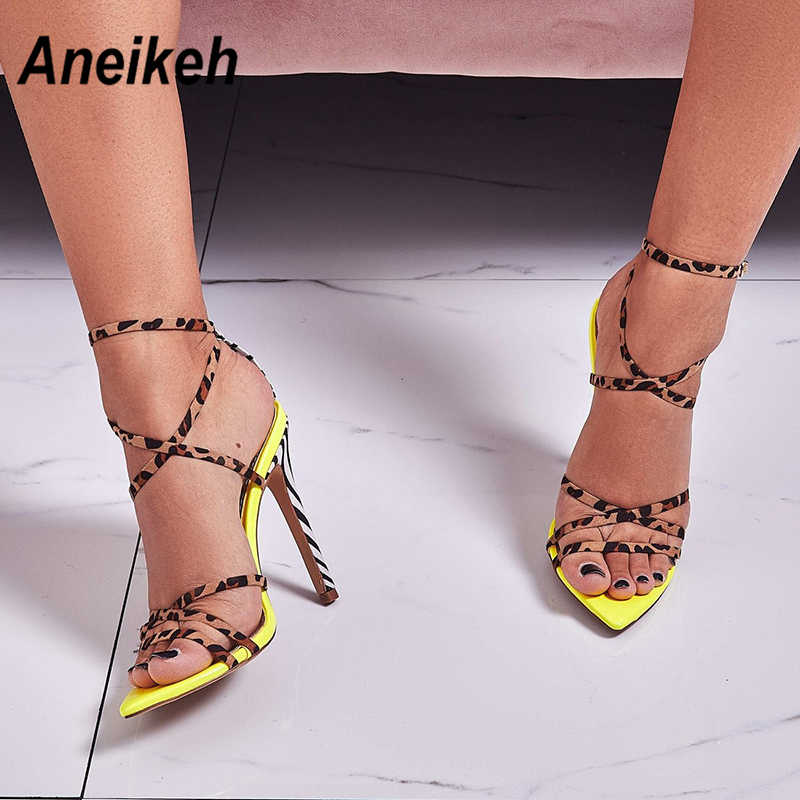 fa4bc53c7 Aneikeh 2019 Sexy Gladiator Sandals Summer Shoes Women Thin High Heels Open  Toe Lady Cross-