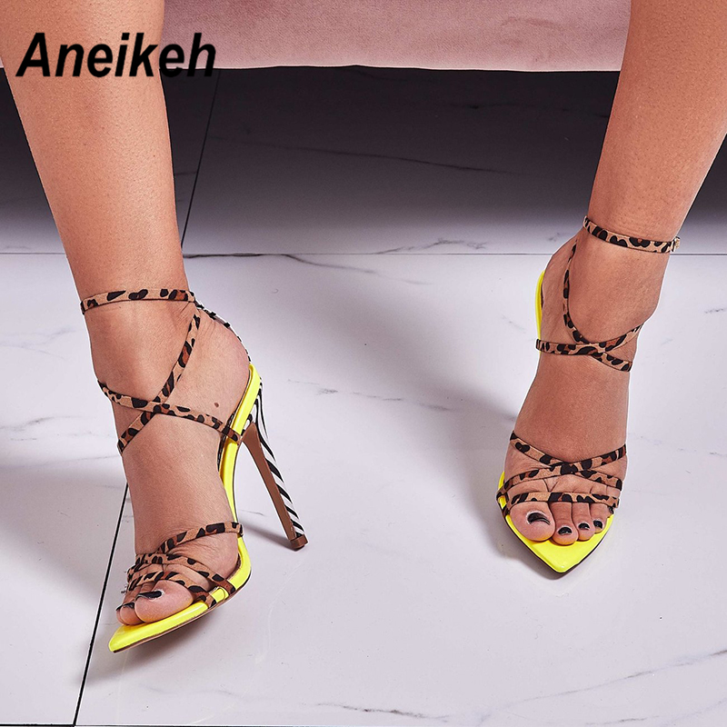 Aneikeh 2019 Sexy Gladiator Sandals Summer Shoes Women Thin High Heels Open Toe Lady Cross-tied Ankle Strap Shoes Size 35-40