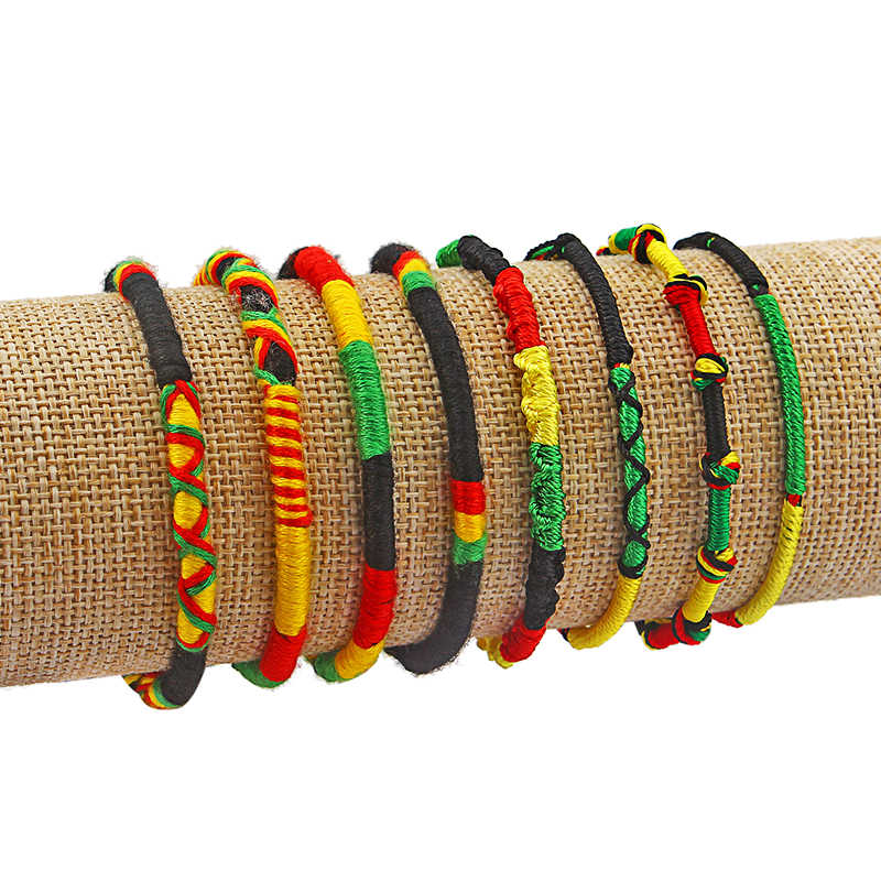 3pcs/lot Handmade Ethnic Rasta Wristband Bracelet Weaved Braid Lucky Friendship Cotton Bracelet Bangle End Silk Tassel Jewelry