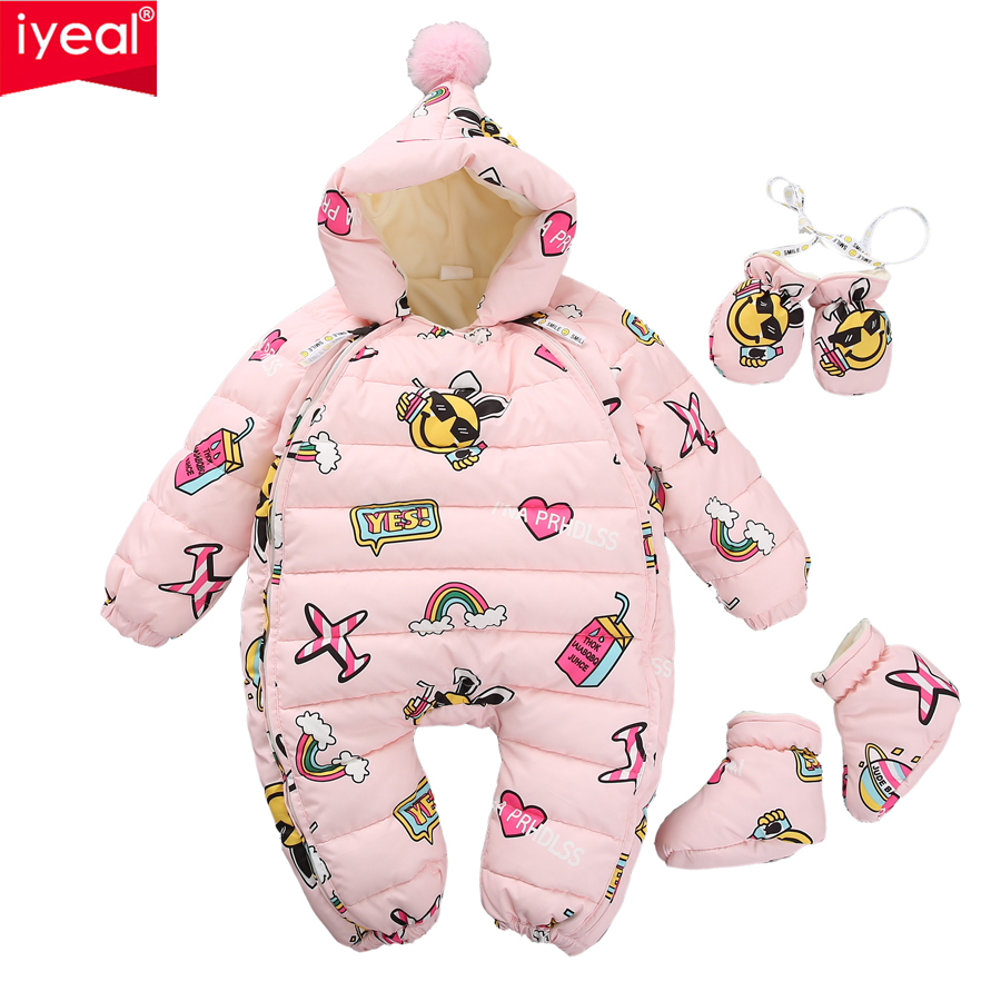 IYEAL NEWEST Warm Overalls Winter Children's Baby Duck Down   Rompers   Infant Boy Girl Thick Jumpsuit Baby Wear Kid Newborn Clothes