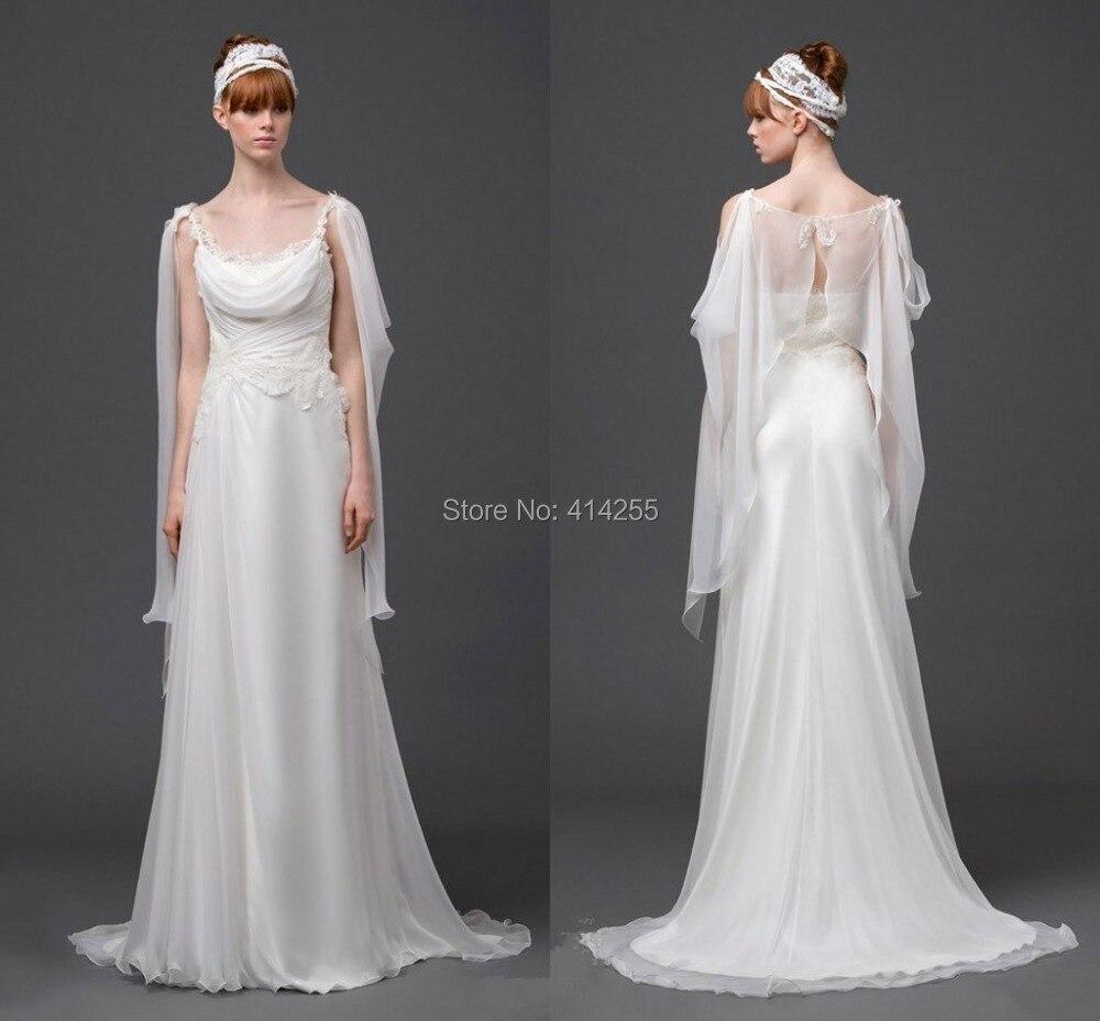 Goddess Wedding Gown: 2014 Greek Goddess Column Beach Wedding Dresses Scoop