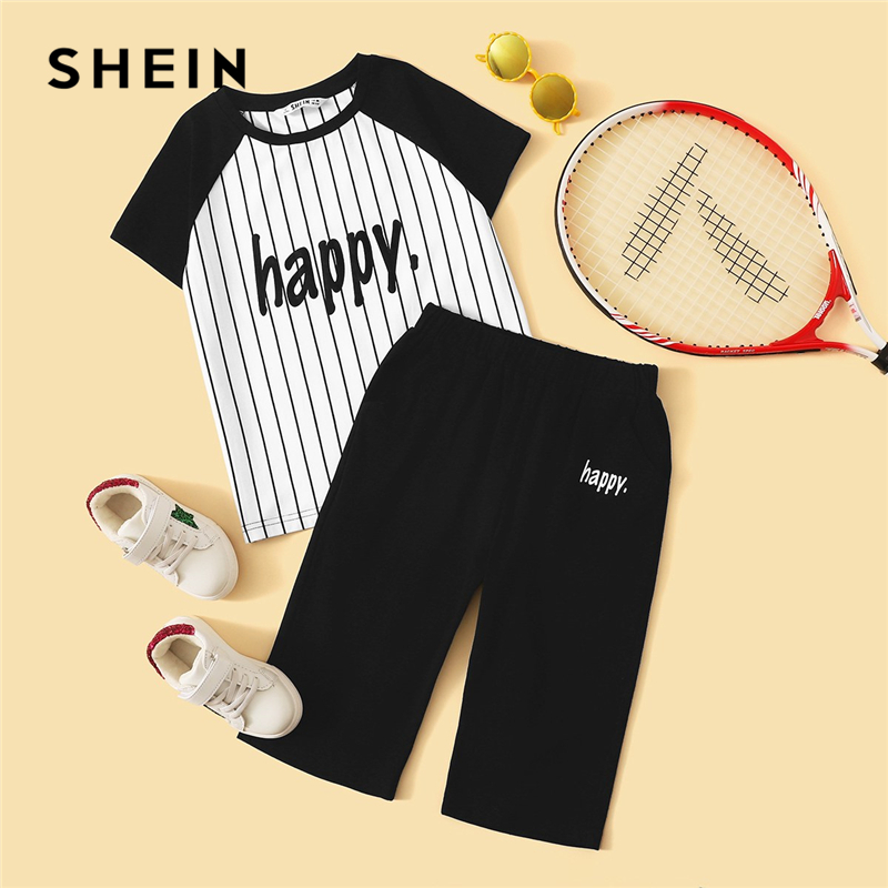 SHEIN Kiddie Colorblock Striped T-Shirt With Letter Print Shorts Boys Sets Kids 2019 Summer Short Sleeve Casual Teenager Outfits shein kiddie toddler girls white cartoon and striped print cute tee kids top 2019 summer short sleeve colorblock casual t shirts