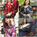 Free Shipping High Quality Fashion Style Wool Acrylic Plaid Poncho Boho Gypsy Scarf Women Thick Winter Keep Warm Free Sz