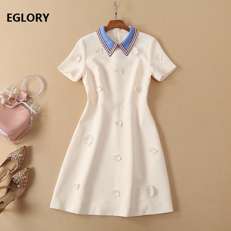 White Pink Dress 2019 Spring Summer Fashion Ladies Turn down Collar Appliques Embroidery Short Sleeve Slim Fitted Cotton Dress