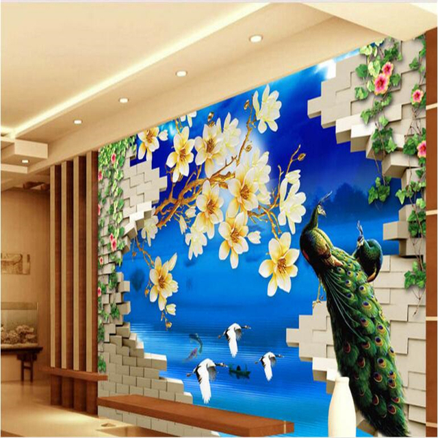 Beibehang Large Scale Custom Wallpaper Chinese Wind Wonderland Flower Tv Wall Design Washable