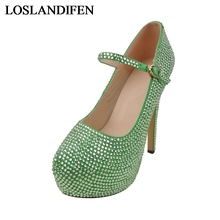 Handmade Glitter Green Beading Rhinestone Shoes Platform Customize Bridal  Shoes Party Pump High Heel Bride Shoes e14153cb5397