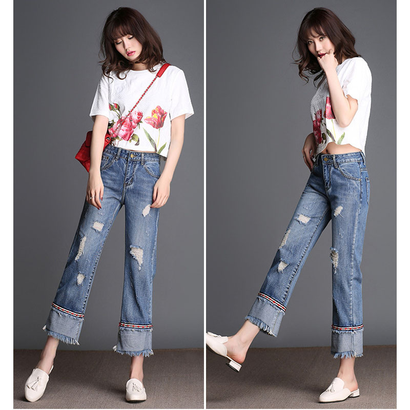 2017 spring and summer new fashion trend splicing hole straight jeans large size loose wide leg nine points pants burr HL0018