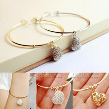 Hot Sale Fashion Women Gold Color Silver Color Simple Hollow Out Carving Bling Metal Bangle Heart