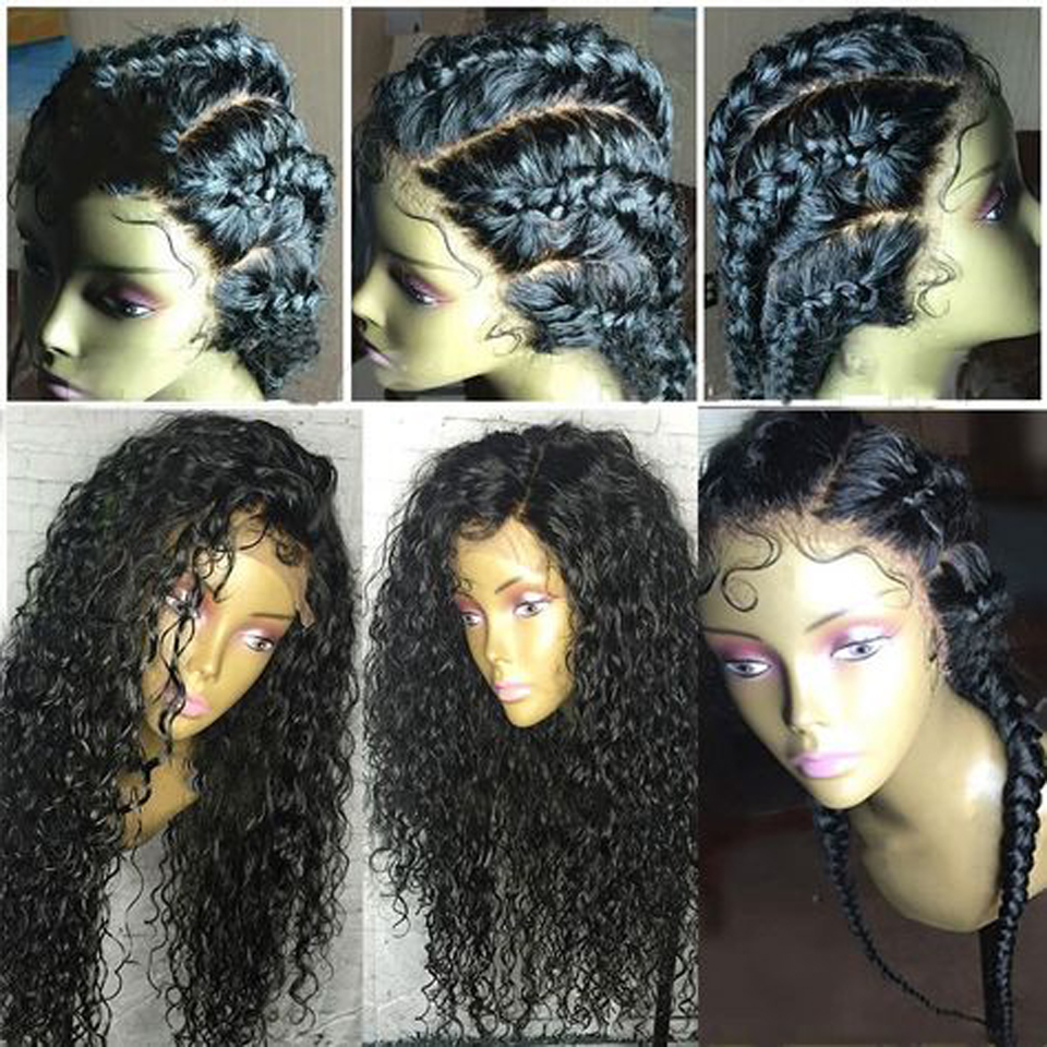 180% Density Curly 360 Human Hair Wig Peruvian Remy Hair Natural Color 360 Lace Frontal Wig With Bleached Knots Free Part