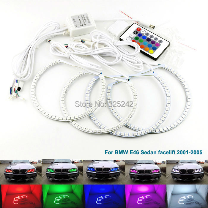 For BMW E46 Sedan facelift 2001-2005 Excellent angel eyes Multi-Color Ultra bright 7 Colors RGB LED Angel Eyes Halo Rings цены