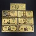 Золотая фольга для купюр в долларах, 7 шт., золотые, серебряные цветные поддельные деньги с конвертом в 100 долларов, упаковка для коллекции, по...