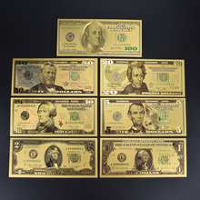 Gold foil Dollar Banknote 7pcs Gold Silver Colorful Fake Money With 100 Dollar Envelope Packaging For Collection Gift все цены