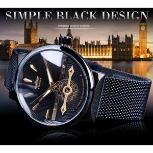 Image 2 - Winner 2019 Fashion Black Golden Mesh Belt Waterproof Luminous Hands Mechanical Wrist Watches Top Brand Luxury Business Clock