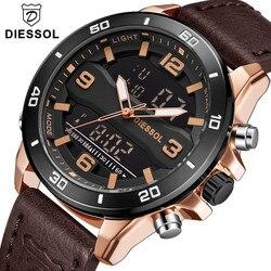 Męskie zegarki DIESSOL Top marka luksusowe zegarki sportowe mężczyźni biznes skórzane LED cyfrowy zegarek kwarcowy zegar wojskowy zegarek wodoodporny w Zegarki kwarcowe od Zegarki na
