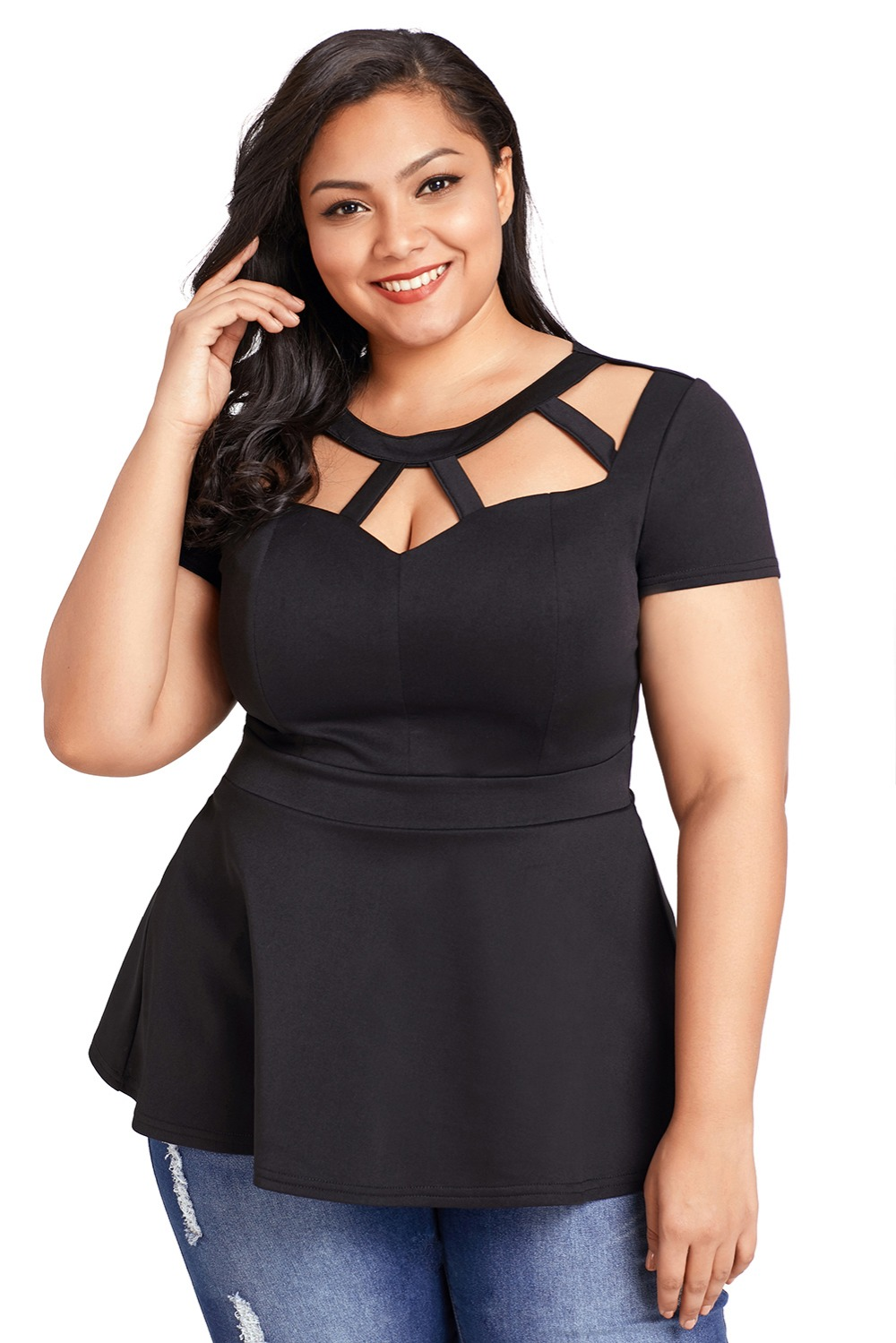 Black-Plus-Size-Caged-Top-LC250752-2-1