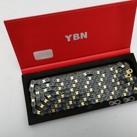 YBN Ultralight Black/Gold Hollow 11 Speed Chain Bicycle Chain MTB Road Bike 10 Speed Chain For Shimano Sram Campagnolo Systen