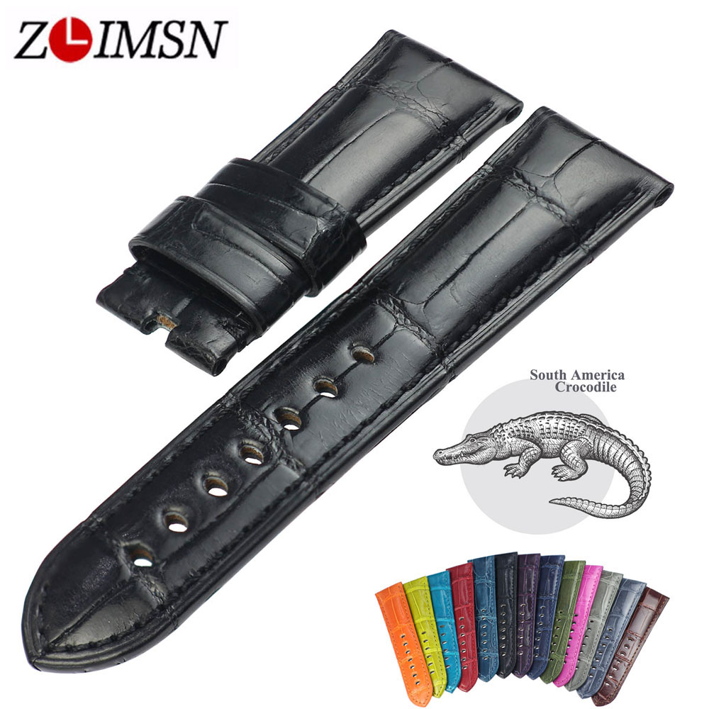 ZLIMSN 13 Color Luxury Alligator Watch Band Panerai For Men's Women's Bracelet 12mm-26mm Suitable For Apple Watch 38mm-42mm eye pendent bracelet watch suitable for women