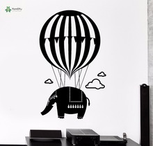 YOYOYU Vinyl Wall Decal Elephant Flying Balloon Animals DIY Kids Room Childlike Cute Decoration Stickers FD106 partymania карнавальный набор брови и усы цвет коричневый
