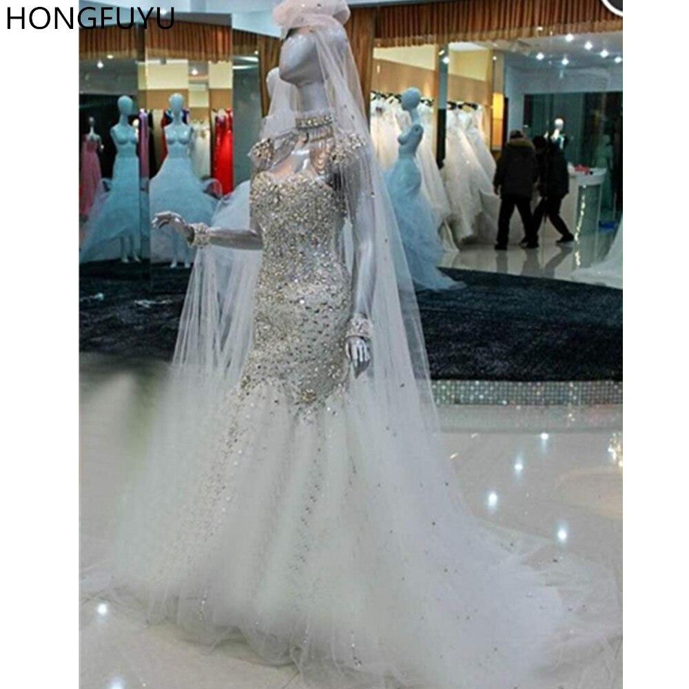 HONGFUYU Luxury Crystals Wedding Dresses Mermaid Bling Bling Tulle High Neck Bridal Wedding Gowns Sweep Train