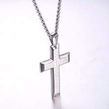 Big Cross Necklaces Black/Gold Color Stainless Steel Bible Cross Pendant & Chain For Men Hip Hop Jewelry Christmas Gift P868