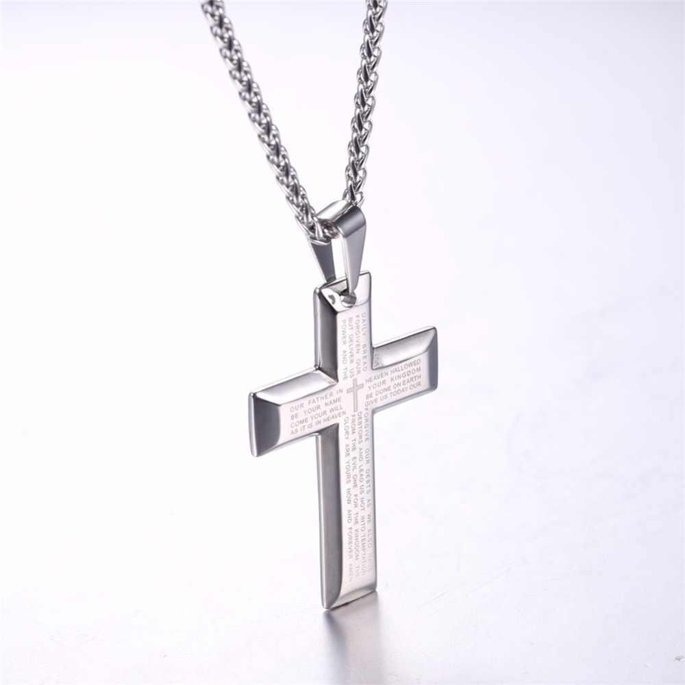 U7 duże naszyjniki z krzyżem czarny/złoty kolor biblia ze stali nierdzewnej krzyż wisiorek i łańcuch dla mężczyzn biżuteria Hip Hop prezent na boże narodzenie P868