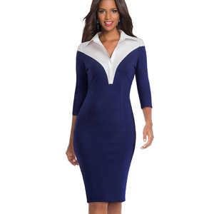 Image 3 - 素敵な永遠のヴィンテージコントラスト色パッチワークターンダウン襟着用して作業する vestidos オフィスビジネス女性ボディコンドレス b420