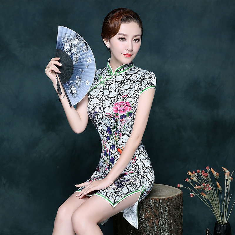 Female Rayon Slim Cheongsam Summer Mandarin Collar <font><b>Chinese</b></font> Mini <font><b>Dress</b></font> <font><b>Sexy</b></font> Retro Qipao Short Sleeve Evening Party Cheongsam image